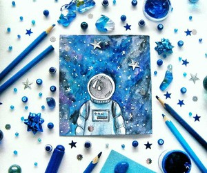 art, blue, and cosmos image