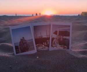 beach, polaroids, and sand image