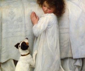 girl, dog, and art image