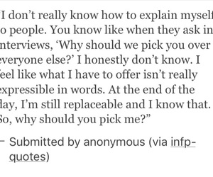 thoughts, tumblr, and infp image