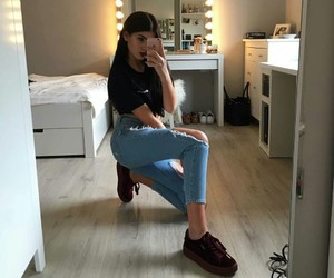 girl, tumblr, and jeans image
