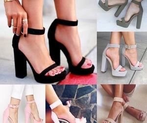 beige, heels, and black image