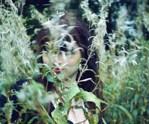 bushes, girl, and forest image