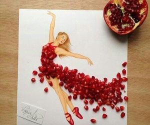 dress, art, and red image