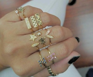 accesories, gold, and rings image