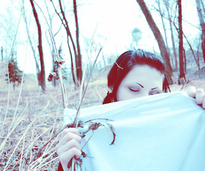 blanket, forest, and girl image