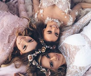 girl, friends, and dress image