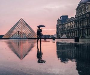 louvre, paris, and rainy day image