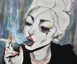 art, smoke, and cigarette image