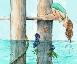 sea, drawing, and fish image