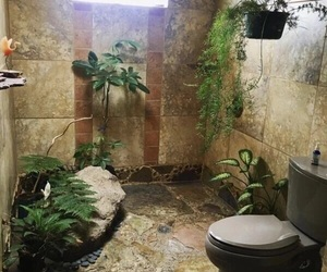 bathroom, nature, and plants image