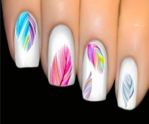 nails, nail art, and feather image