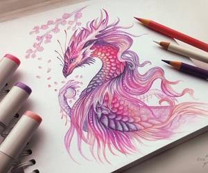 dragon, pink, and art image