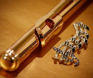 flute, gold, and jewelry image