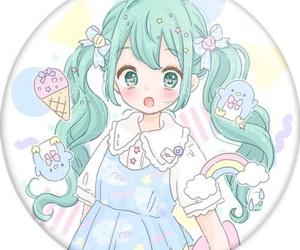 anime girl, ice cream, and kawai image