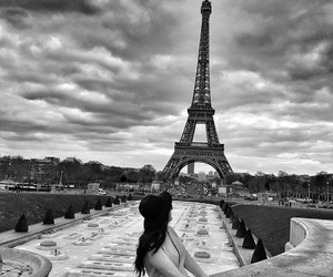 brunette, girl, and eiffel tour image