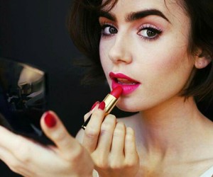 lily collins, girl, and makeup image