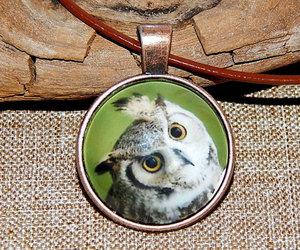 animal pendant, owl art print, and owl talisman amulet image