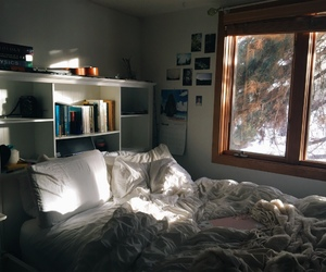bed, soft, and sun light image