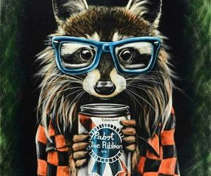 hipster, raccoon, and animal image