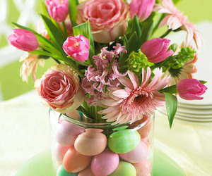 easter, flowers, and eggs image