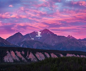mountains, outdoors, and pinks image