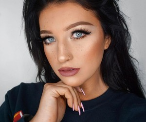 blue eyes, girl, and makeup image