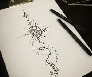 tattoo ideas, compass tattoos, and cute tattoos image