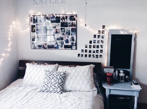 Tumblr Room Decor Living Bedroom Bed Wall Home Decoration Pretty Pillows Lights Polaroid