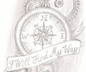 compass tattoos, awesome tattoos, and clock tattoos image