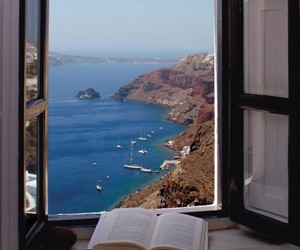 book, sea, and window image