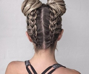 blonde, double bun, and braid image