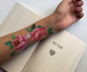 book, flowers, and paint image