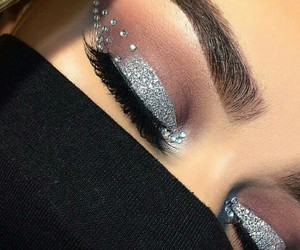beauty, eyeshadow, and silver image