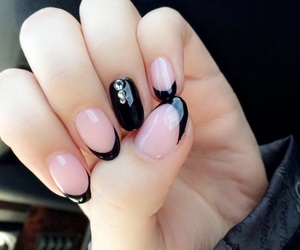 black, french, and manicure image