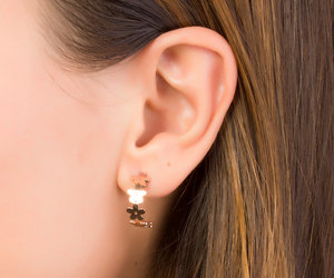 bridal jewelry, flower earrings, and rose gold earrings image