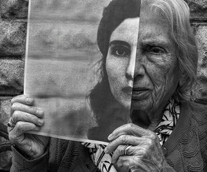 old, woman, and black and white image