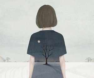 girl, art, and tree image