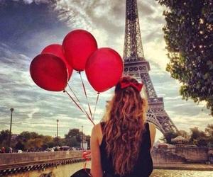 paris, girl, and balloons image