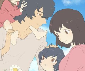 wolf children, anime, and family image
