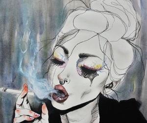 art, smoke, and cigarette image