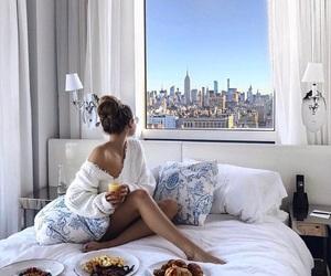 girl, breakfast, and bedroom image