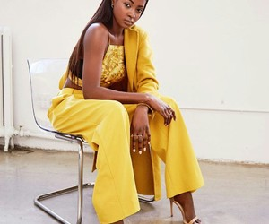 brown skin, outfit, and model image