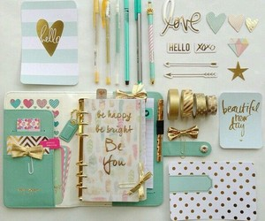 school, planner, and gold image
