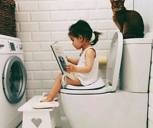kids, baby, and cat image