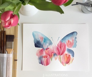 butterfly, flowers, and watercolor image