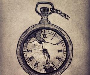 time, drawing, and broken image