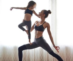 fitness, yoga, and daughter image