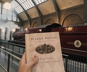 harry potter, book, and train image