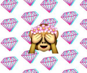 emoji, diamond, and monkey image